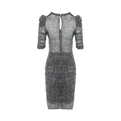 shirring detail puff sleeve blouse & shirring detail sheer midi skirt